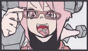 「ロボ子メガネ」を切り絵にしてみた