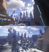【Minecraft】雪原に建つカラフルな城