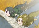 口に魚が入ってくるのを待っているイリエワニとミシシッピワニ