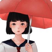 「赤い傘の子」