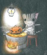 ハロウィンカボチャスープにゃんこ