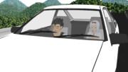 AE86でドライブする悟飯と翔鶴