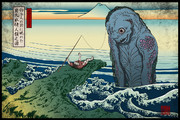 邪神三十六景『釣り人の前に現れた巨大な水棲人類之図』