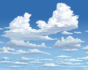 雲のある空を描く