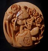 木彫りのカプ・テテフ(レリーフ)