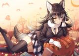 お菓子を貰いに来た子たちを食べようとするタイリクオオカミさん