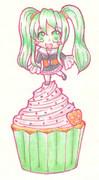 ミクちゃんon theカップケーキ