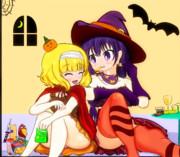 ハロウィン終わりにお菓子を撮む二人