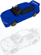 スバル・インプレッサ 22B-STi Versionの元画像とラフ画。