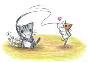 中華まんで猫を釣るにゃんこ