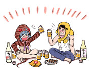 酒を飲むツチノコとonちゃん(安田顕)