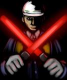 闇夜に惑う人々を誘い導く赤き双剣の騎士