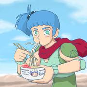 天ぷらうどんを食べるラグ・ウラロ