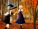 アリス、魔理沙と一緒にキノコ狩り