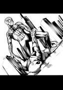 スパイダーマンとデッドプールの本格的バトル。