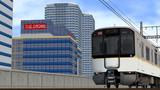 RailSim2 ビルの横を走る