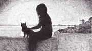 夕日と猫と少女