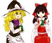 仲良くお茶を飲むAIM姉貴&ICE姉貴(透過)