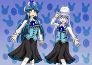 ラビットハウスの制服を着ている群青早雲とチノちゃん