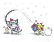 プレゼントで猫を釣るにゃんこ