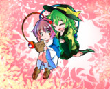 Koishi hugs Satori in Cute Heaven