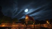 月の明かりと民家