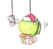 プレゼントを届けるカエルのサンタさん
