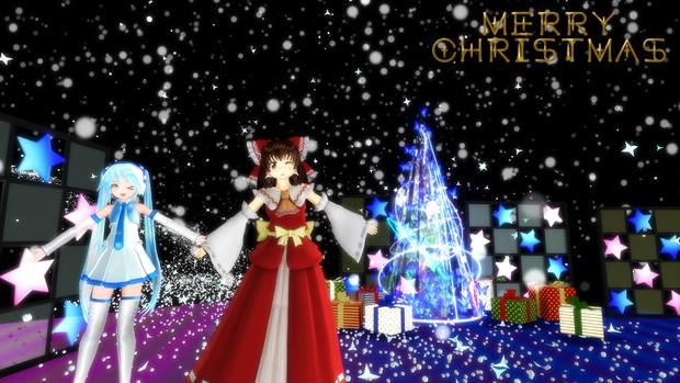 4k2017 クリスマス雪ミクと霊夢 壁紙 Harutendo さんのイラスト