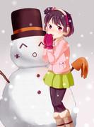 *^o^)<雪だるま!