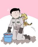 赤ちゃんジャガーにじゃれつかれて危機を感じるなかやまおにいさん