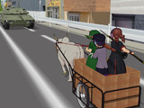 戦車(?)で戦車に突撃する三人娘
