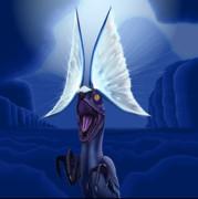 眩き鳥竜が台地を照らす