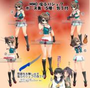 【MMD】塩ふりシェフ ポーズ集(5種)包丁付【ポーズ配布】