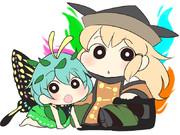 【クレしん風】隠岐奈とラルバ