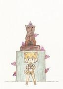 イエイヌとハチ公像(イングレス仕様)