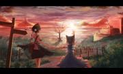 夕陽と文チル