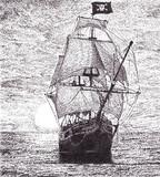 夕日と海賊船