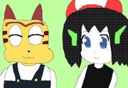 洞窟物語のクォート君と日本最大級ダウンロードサイト「ベクター」のマスコットキャラクターの猫君
