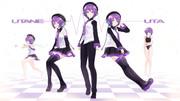 【MMDモデル配布あり】Tda式改変唄音ウタ(デフォ子)・デフォ服セット