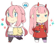 碧眼ピンク髪