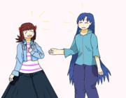 長いスカートと長い髪