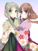 袴姿の二童子