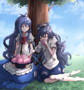 お題「仲良く桃を食べる天子と紫苑 よろしければお願いします!」