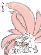 正体を現しつつある八雲藍(浮世絵風)