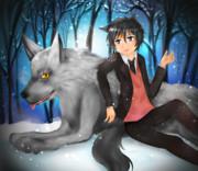 氷晶のなか銀狼と戯れる