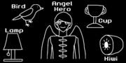 BLACK (Bird, Lamp, Angel-hero, Cup, Kiwi)