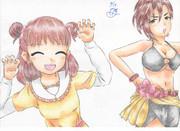 色鉛筆でTwin☆くるっ★テールのMV模写(師匠ver)