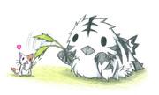 ネコをじゃらすシマフクロウ