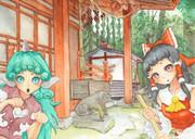 博麗神社と霊夢とあうん