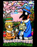 切り絵 ペンギン 「二足速いピクニック」お花見version